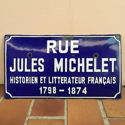 Old French Street Enameled Sign Plaque - vintage bombed arched MICHELET • CAD $137.34