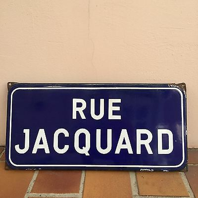 Old French Street Enameled Sign Plaque - vintage JAQUARD