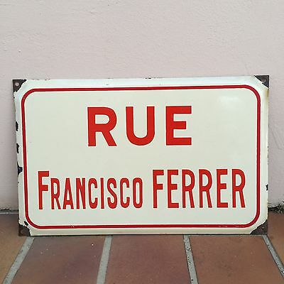 Old French Street Enameled Sign Plaque - vintage FERRER