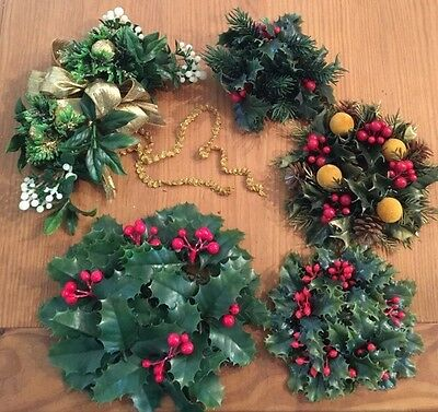 Vtg Lot 5 Holly Berry Mistletoe Artificial Plastic Christmas Candle Ring Deco