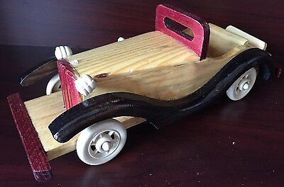 VINTAGE WOODEN HANDCRAFTED ANTIQUE CLASSICAL CAR TOY Handmade decoration 9.5X3.5