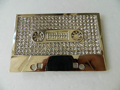 "Cassette Tape Belt Buckle, Zinc Alloy, Silver & Faux Diamonds,3.75"", 3D Sculpted"