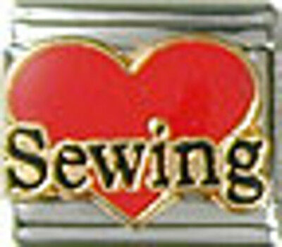 1 Heart Love Sewing 9MM NEW Stainless Steel Italian Charm Brand New!
