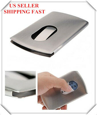 US Stainless Steel Thumb Slide Out Pocket Business Credit Card Holder Case