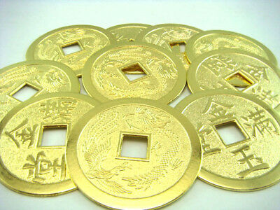 10PCS Chinese Golden Fortune Coins-Feng Shui Dragon-Phoenix  Y1011