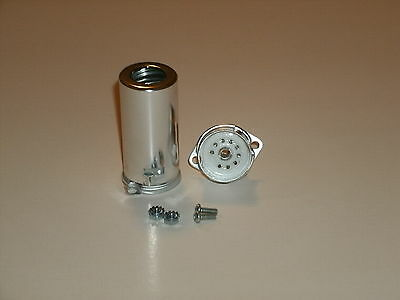 """Ceramic 9 pin 12AX7 tube socket with shield, top mount, fits 3/4"""" hole, w/bolts"""