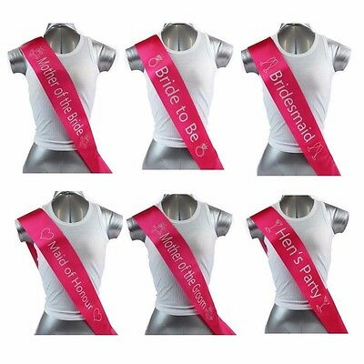 Hens Night Bridal Sash Sashes Bride Bridesmaid Maid Of Honour *hot Pink Silver *