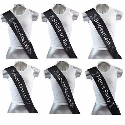 Hens Night Bridal Sash Sashes Bride Bridesmaid Maid Of Honour *black Silver *