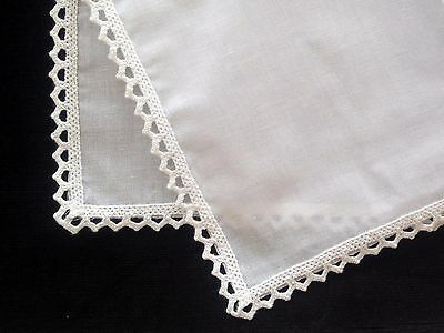 1 x Ladies White Cotton Handkerchief with crocheted edges, Hankie, Hanky
