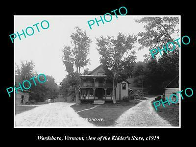 OLD LARGE HISTORIC PHOTO OF WARDSBORO VERMONT, VIEW OF THE KIDDER STORE c1910