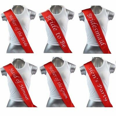 Hens Night Party Bridal Sash Bride Bridesmaid Maid Of Honour Sashes- Red + White