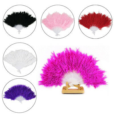 BURLESQUE SHOWGIRL 1920s DELUXE FEATHER HAND FAN FANCY DRESS COSTUME ACCESSORY