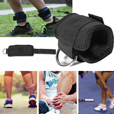 Black/Blue Ankle Twin D-Ring Strap Gym Cable Attachment Leg Pulley Weight Lift