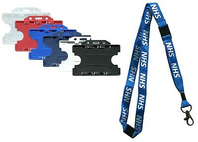 Double Sided ID Card Badge Holder & NHS Triple Breakaway Neck Lanyard  Free P&P
