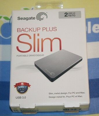 NEW Seagate Backup Plus Slim 2TB USB 3.0 Portable External HD STDR2000101 Silver