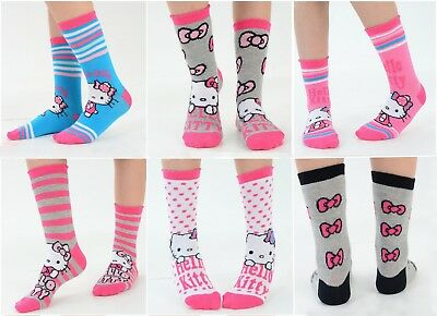 Girls Hello Kitty Character Ankle Socks - Size Options Available