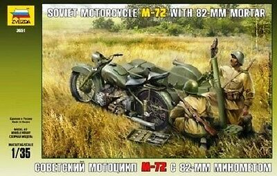 ZVEZDA 3651 - Soviet Motorcycle M-72 with 82-mm Mortar / Modellbausatz 1:35