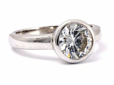 Solitaire Ring, Silver 925/000, rhodium-plated