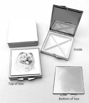 Chow Chow Dog Polished Metal Square Pill Box Gift