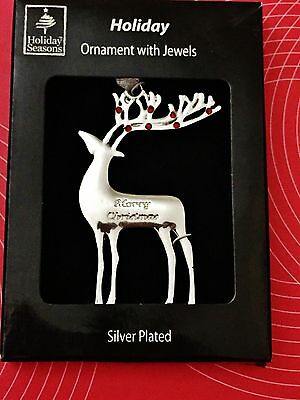 Silver Plated Christmas Ornament with Jewels Standing Reindeer Engraved