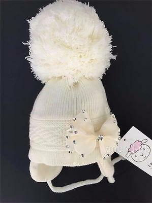 Baby Girl Big Pompom Hats with Big Bow/Pink/Cream/ 0-3 Months to 2 Years