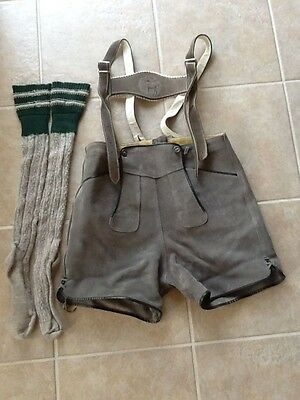 Vintage Authentic Lederhosen with Straps  and Socks
