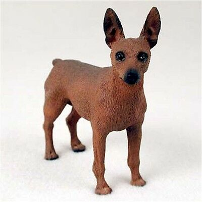 Realistic Hand Painted Red and Brown Miniature Pinscher Cold Cast Resin Figurine