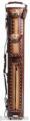Instroke Southwest 3x5 Leather Pool Cue Case- BROWN - ISSW35-BR - Holds 3+ Cues
