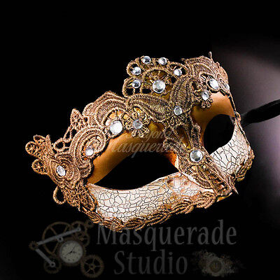 Venetian Goddess Brocade Lace Masquerade Mask with Clear Rhinestones [Gold]