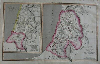 Original 1824 Engraved Map HOLY LAND Judea Israel Palestine Middle East Jericho