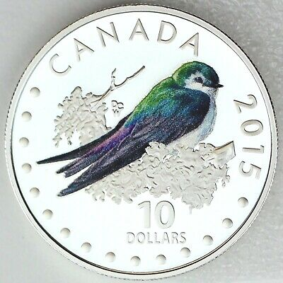 2015 $10 Colorful Songbirds of Canada: Violet-Green Swallow Pure Silver Proof