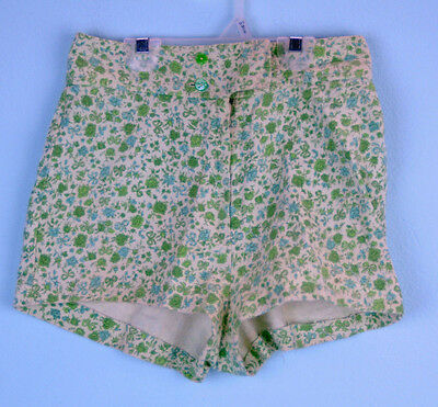 VTG Ivory Green Cotton Floral Mini summer Shorts Sz 12