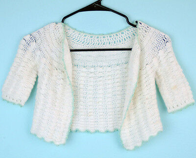 VTG White knit Open front little girls sweater top