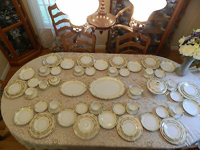 Meito China Dinner Ware set for 10 with 6 Serving Pieces
