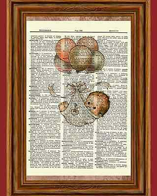 Vintage Baby Dictionary Art Print Picture Nursery Decoration Decor Newborn Ooak