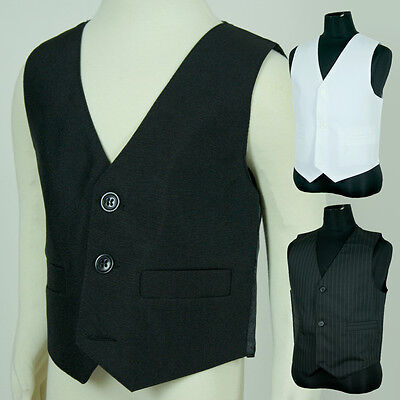BNWT Boys Toddler Page Boy Wedding Formal Vest Sz 00-16 Black White Pinstripe