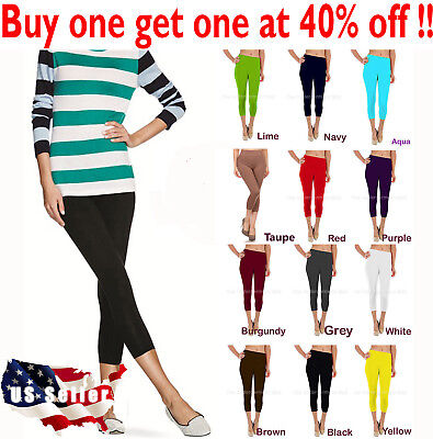 Womens capri leggings seamless skinny slim fit cropped solid yoga pants one size