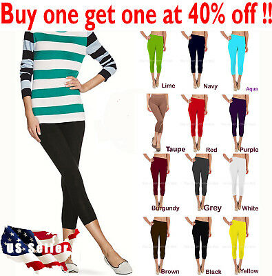 Womens capri leggings seamless skinny stretch cropped solid yoga pants one size