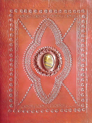 Large Handmade Eco Friendly Brown Embossed Leather Journal Notebook Diary Stone