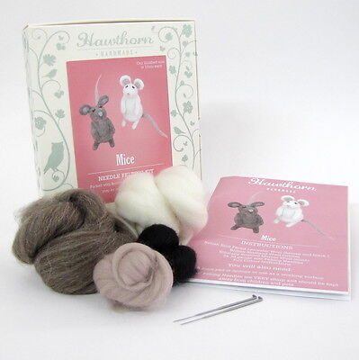 Little Mice Needle Felting Kit - Make Own - British Wool Design Craft Gift Mouse