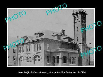 OLD LARGE HISTORIC PHOTO OF NEW BEDFORD MASSACHUSETTS, THE FIRE STATION c1920 1