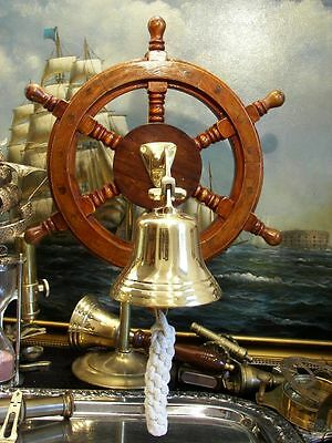 Handcrafted Brass Bell On Wooden Steering Wheel Nautical Pub Tavern Great Sound