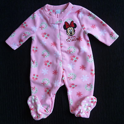 Baby clothes GIRL 6-9m Disney Minnie Mouse pink zip fleece Christmas sleepsuit
