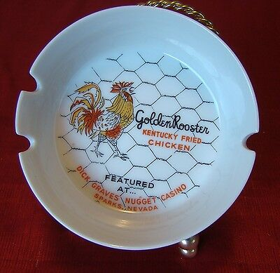 Vintage - Dick Graves - Golden Rooster - Ashtray - Nugget Casino - Sparks Nevada