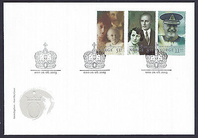 Norway 2003 King Olav V Birth Cent set on unaddressed official first day cover