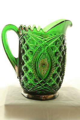 Eapg Northwood Glass Emerald Green Gold Decorated Memphis Water Pitcher