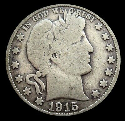 1915 Silver United States Barber Half Dollar Coin Condition Very Good
