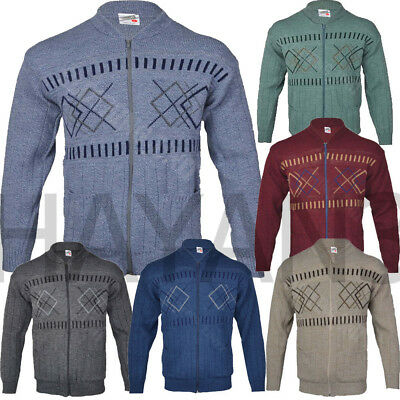 Men Classic Zip Cardigan Granddad Collar With Two Front Pockets