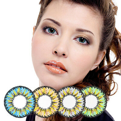 GAUDY 4tone Blue Circle Lens for Near-sighted Green Color Contacts with Power