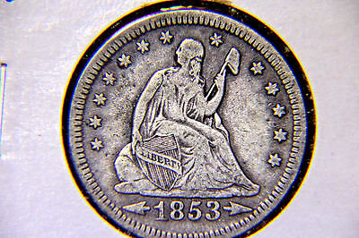 1853 25C Arrows & Rays Liberty Seated Quarter - Silver - Lot # 02